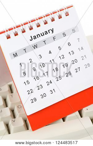 Calendar and computer Keyboard January New Year