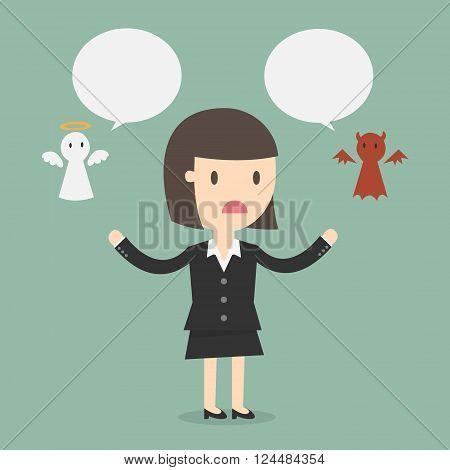 Shoulder devil and angel. Business Concept Cartoon Illustration.