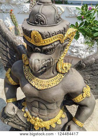 CHACHOENGSAO, THAILAND, JANUARY 21 : cement garuda statue in public temple at Chachoengsao Thailand on the 21 January, 2016