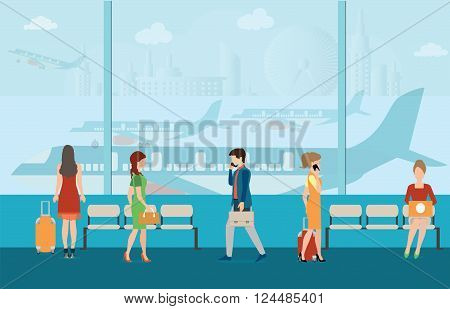 Business people in airport terminal. travel conceptTraveler and departure transportation passenger luggage and baggage journey vector illustration.