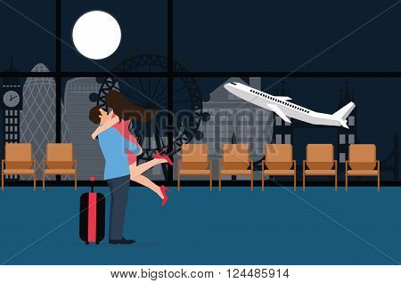 couple meet at airport landing take off departure night love farewell plane background vector