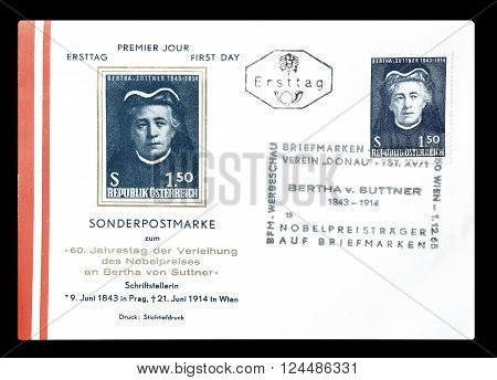 AUSTRIA - CIRCA 1965 : Cancelled First Day Cover letter printed by Austria, that shows Bertha Suttner.