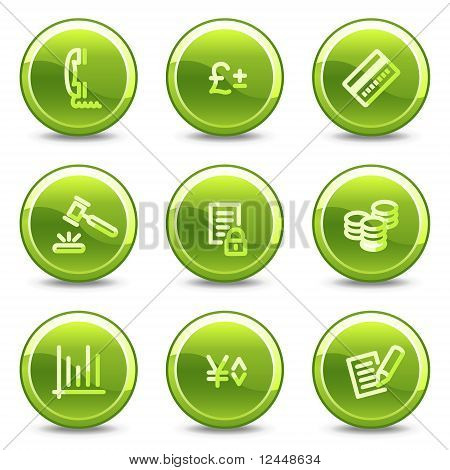 E-business Icons, Green Circle Glossy Buttons