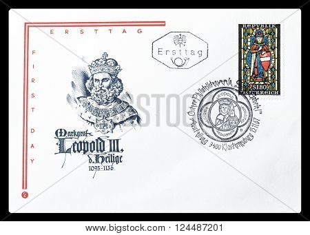 AUSTRIA - CIRCA 1967 : Cancelled First Day Cover letter printed by Austria, that shows Leopold III.