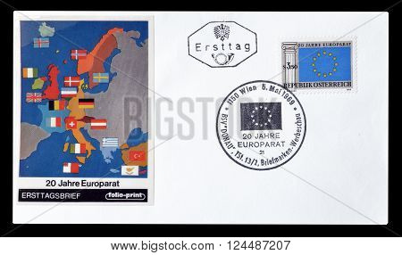 AUSTRIA - CIRCA 1969  : Cancelled First Day Cover letter printed by Austria, that shows Map of Europe.
