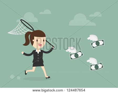 Business woman trying to catch money.  Business Concept Cartoon Illustration.