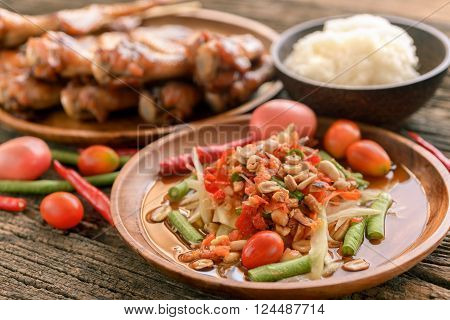 Famous Thai Food, Papaya Salad And Grilled Chicken