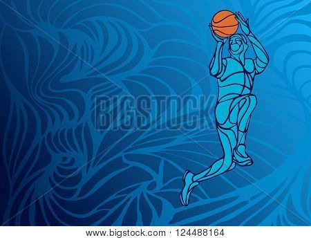 Basketball player Slam Dunk Line Art Silhouette. Creative vector illustration on blue background