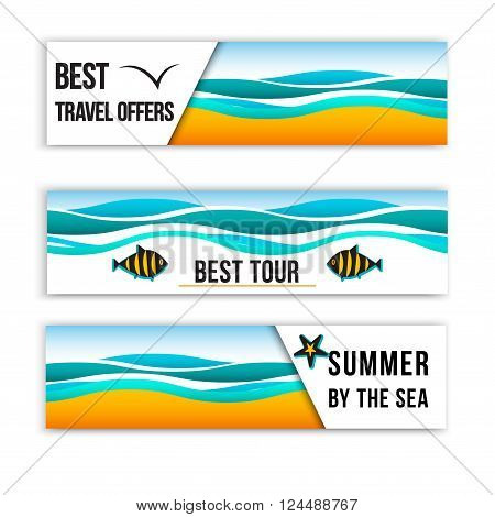 Summer sea banners. Collection of summer inspired headers. Summer Header Banners. Best tour banners. Best travel offers.