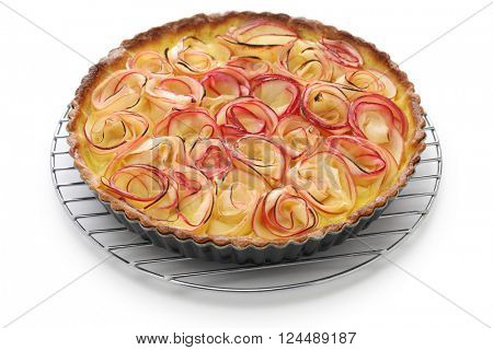 apple rose tart on cake cooler