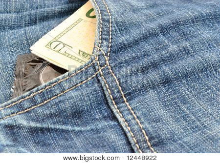 Condoms And Money In Pocket