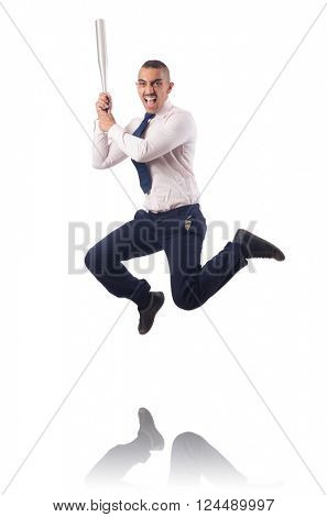 Businessman jumping with baseball bat