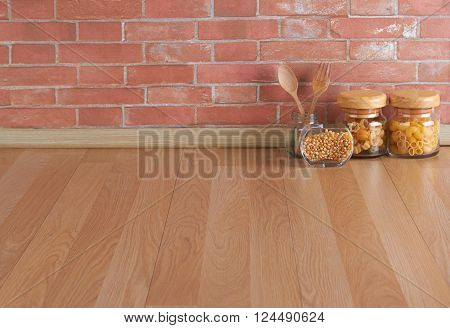 Empty space on the kitchen counter and brick wall