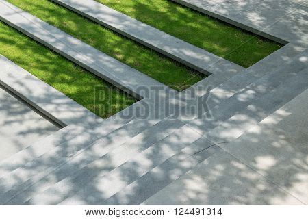 Stairway With Green Grass And Gravel Texture ,landscape Architecture