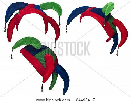 jester hat isolated on white in different angles