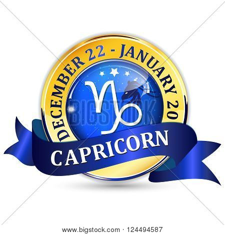 Capricorn zodiac sign blue shiny ribbon / icon / button. Contains also the Dates of Birth.