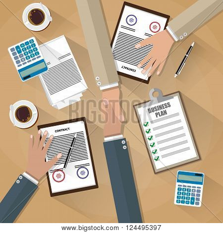 two businessman shake hands after the signed contract . top view of Desk with coffee, calculator, contract papers. vector illustration in flat design