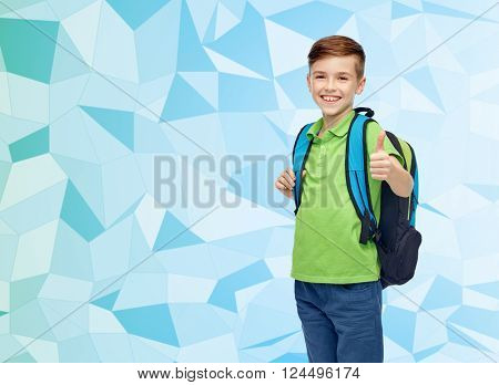 childhood, school, education and people concept - happy smiling student boy with school bag over blue low poly texture background