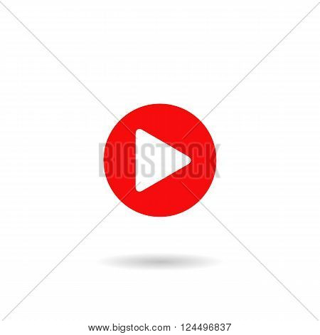 Red play button icon. Web player icon. vector illustration in flat design isolated on white background