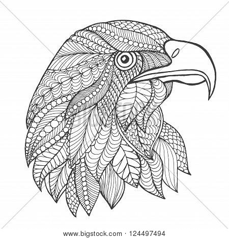 Eagle head. Adult antistress coloring page. Black white hand drawn doodle animal. Ethnic patterned vector. African, indian, totem tribal, zentangle design. Sketch for tattoo, poster, print, t-shirt