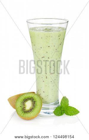 Kiwi milk smoothie with mint. Isolated on white background
