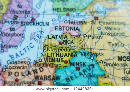 Beautiful photo of a map of Latvia and the capital Riga .