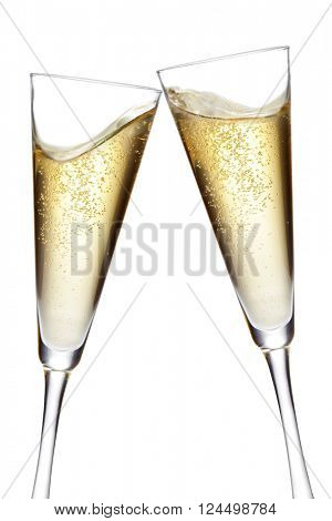Champagne flutes toasting. Isolated on white background