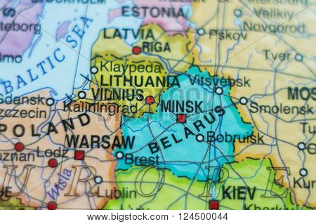 Photo of a map of Belarus and the capital Minsk .