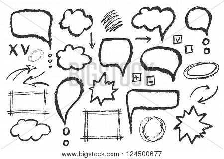 Set of message bubbles. Hand drawn vector sketch speech illustration.