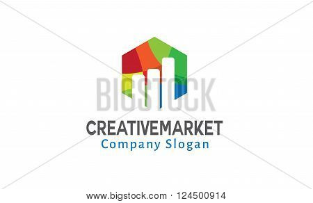 Creative Market Colorful And Symbolic Logo Design Illustration