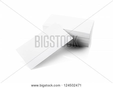 Stack of blank business cards with soft shadows. Isolated with clipping path on white background. Mockup for design presentations and portfolios.