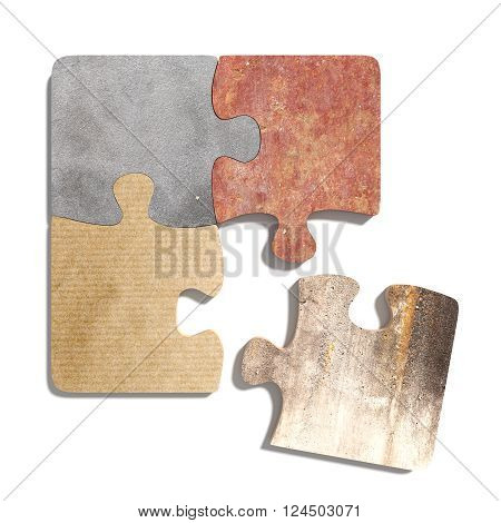 Four Connected Puzzle Pieces Of Different Material