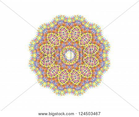 Abstract concentric pattern from color lines on white background for design