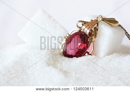 Jewelry and Food Series: Red Ruby Jewel in Crystal Sugar