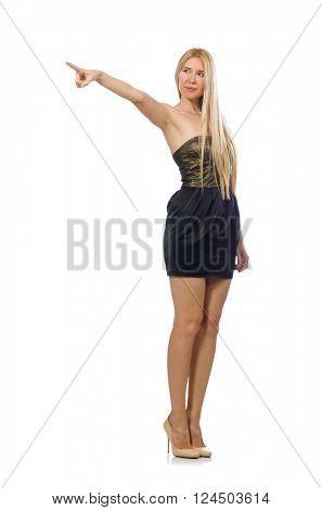 Model in strapless elegant dress isoalted on white