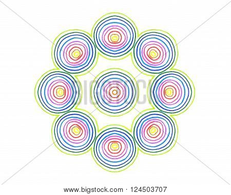 Abstract Round Concentric Pattern From Color Lines