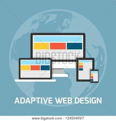 Web development concept. Adaptive web design illustration