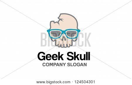 Geek Skull Creative And Symbolic Logo Design Illustration