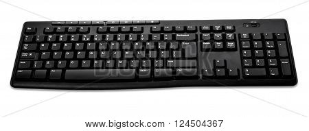 Front View Od Black Wireless Computer Keyboard Isolated On White Background
