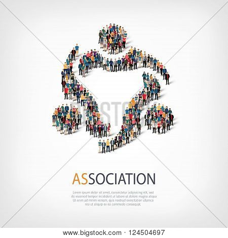 Isometric set of styles, association, web infographics concept  illustration of a crowded square, flat 3d. Crowd point group forming a predetermined shape. Creative people. - Vector Illustration. Stock vector.