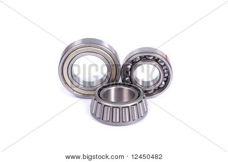Three Different Type Ball Bearings Isolated On White Background