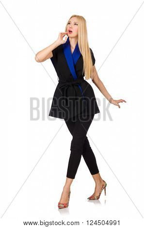 Woman in classic black vest isolated on white