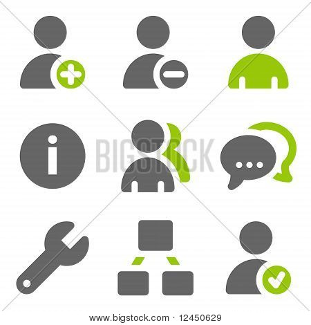 Social Network Users Web Icons, Green Grey Solid Icons