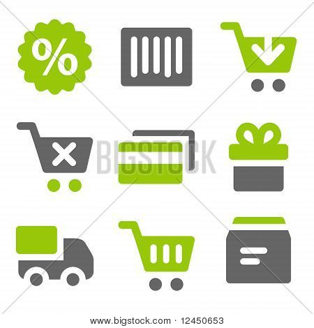 On-line Shopping Web Icons, Green Grey Solid Icons