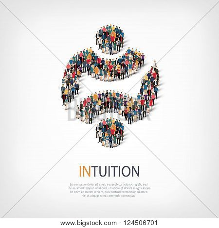 Isometric set of styles, intuition , web infographics concept  illustration of a crowded square, flat 3d. Crowd point group forming a predetermined shape. Creative people. - Vector Illustration. Stock vector.