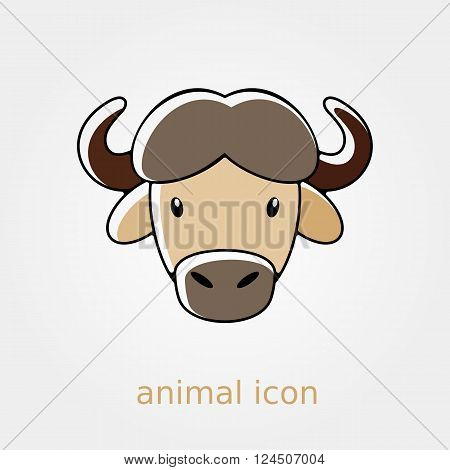 Buffalo bull bison ox flat icon. Animal horned head vector symbol eps 10