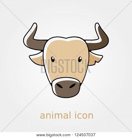 Spanish bull bison buffalo ox flat icon. Animal horned head vector symbol eps 10