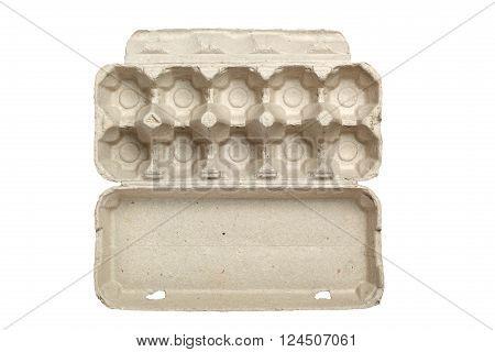 Empty egg carton isolated on white background