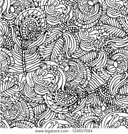 background black and white pattern abstract floral pattern with floral ornament coloring peacock feather vector illustration