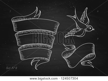 Set of old vintage ribbon banners and drawing in engraving style on a black chalkboard background and texture. Hand drawn design element. Vector Illustration